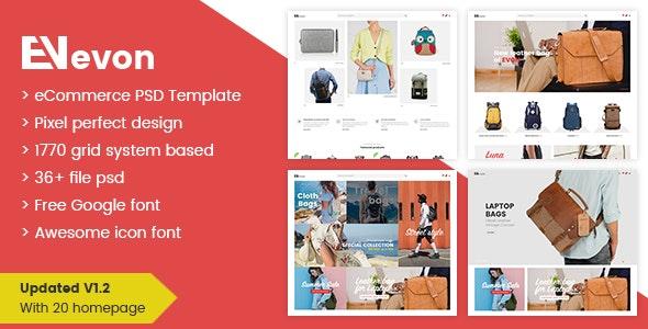 Evon - Ecommerce PSD Template - Retail Photoshop