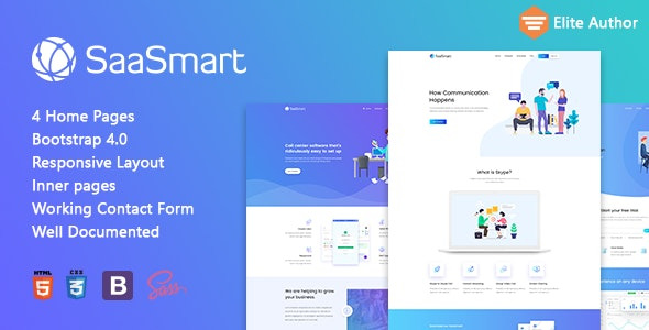 SaasMart - Agency, Saas, Web Application HTML5 Template - Software Technology
