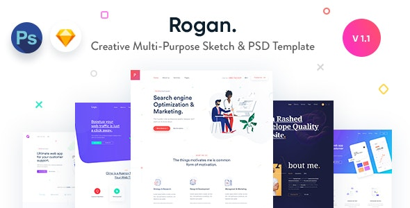 Rogan - Creative Multi-Purpose Sketch & PSD Template - Sketch UI Templates