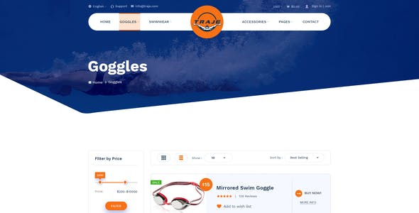Traje - Swimming Sportswear Store PSD Template