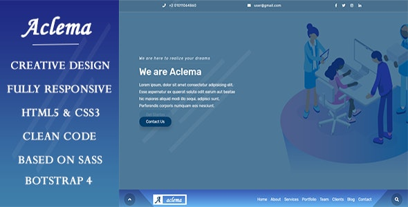 Aclema- Agency HTML Template - Corporate Site Templates