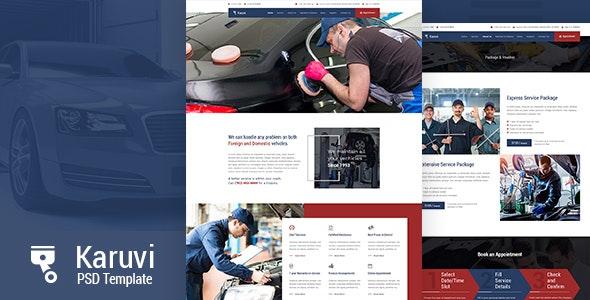 Karuvi | Automobile Mechanic PSD Template - Miscellaneous PSD Templates