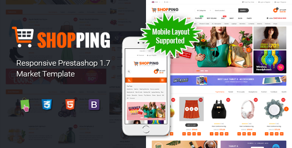 Shopping - Clean Multipurpose Responsive PrestaShop 1.7 eCommerce Theme with Mobile Layout Supported - Shopping PrestaShop