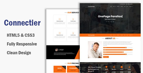 Connectier – One Page HTML Bootstrap 4 Template - Business Corporate