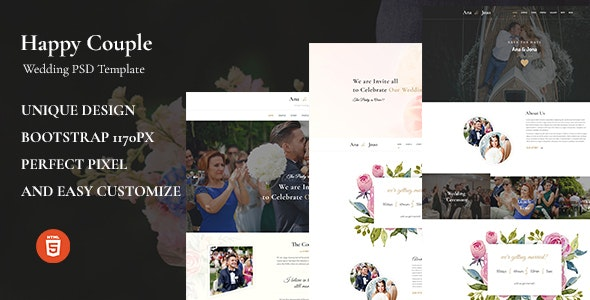 Happy Couple - Wedding HTML5 Template - Wedding Site Templates
