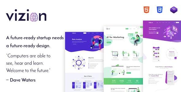 Vizion - AI Startups Responsive HTML5 Template - Technology Site Templates