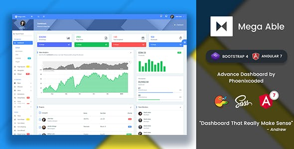 Fixed Sidebar HTML Admin Website Templates from ThemeForest