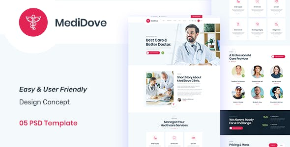 MediDove - Medical and Health PSD Template