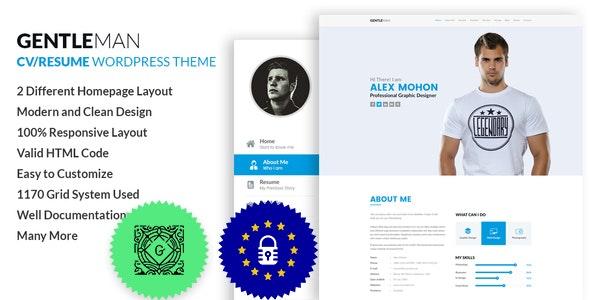 GentleMan- vCard & CV Resume WordPress Theme - Portfolio Creative