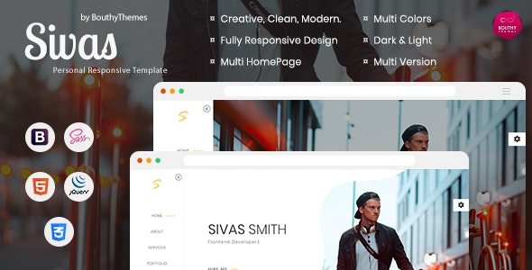 Sivas - Personal One Page Template - Personal Site Templates