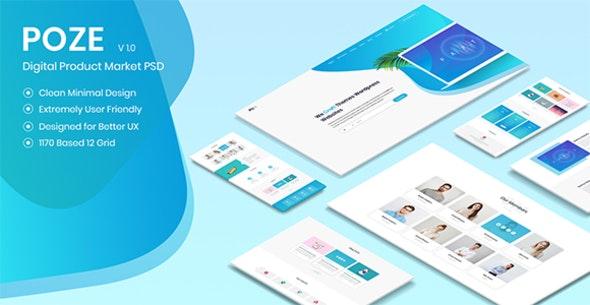 Poze - Membership Based Digital Product Selling Marketplace PSD Design - Retail PSD Templates