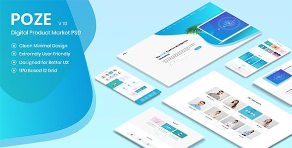 Poze - Membership Based Digital Product Selling Marketplace PSD Design