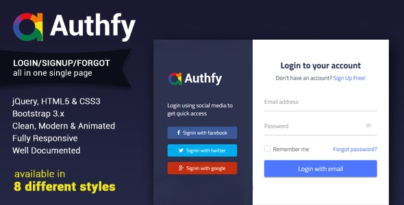 Authfy - Responsive Login and Signup Page Template - Software Technology