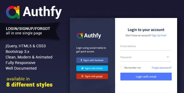 Authfy - Responsive Login and Signup Page Template
