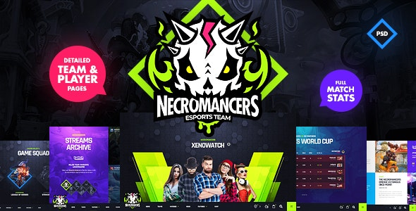 Necromancers - eSports Team PSD Template - Entertainment Photoshop