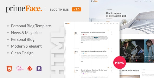PrimeFace - HTML Responsive Blog and eCommerce Template by