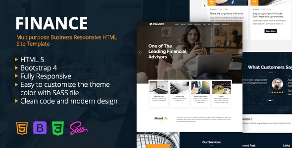 Finance - Multipurpose Business Responsive HTML Site Template - Corporate Site Templates