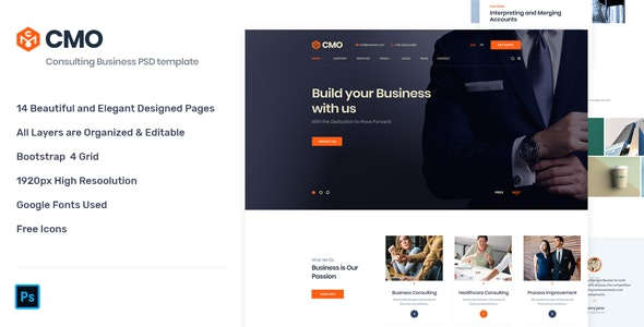 CMO - Corporate Consulting Business PSD Template - Corporate PSD Templates
