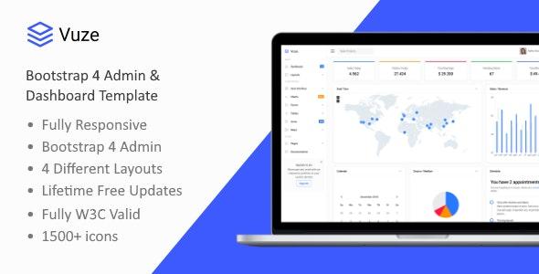 Vuze - Bootstrap 4 Admin & Dashboard Template by bootlabio