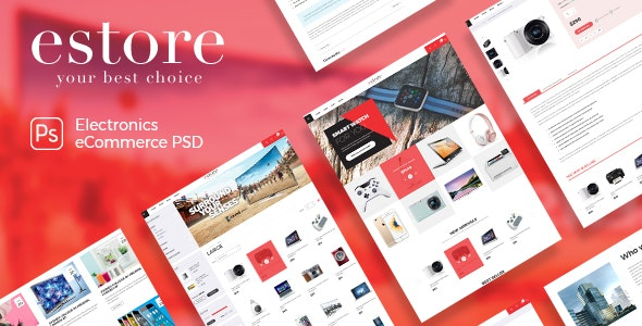 estore - Modern & Beautiful Electronics PSD Template - Retail Photoshop