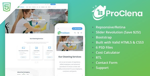 ProClena - Cleaning HTML Template - Business Corporate