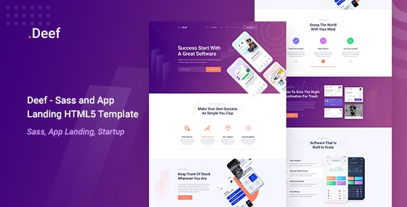 Deef -  App Landing HTML5 Template - Software Technology