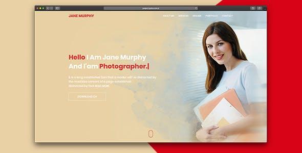 Jane Creative One Page Portfolio HTML Template