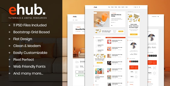 ehub - Free Resources & Tutorials Blog PSD Template - Personal PSD Templates
