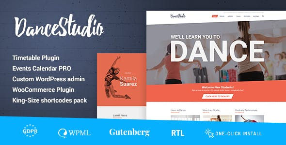 0cab8232216 Dance Studio - WordPress Theme for Dancing Schools   Clubs - Health    Beauty Retail