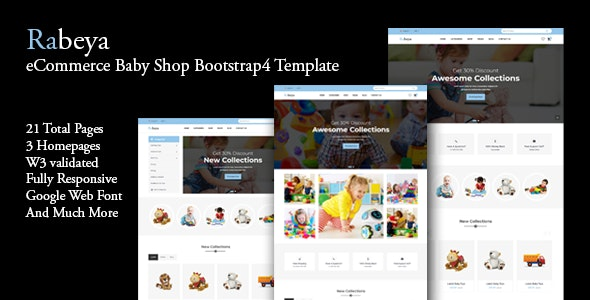 Rabeya - eCommerce Baby Shop Bootstrap4 Template - Children Retail