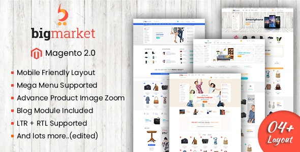 Bigmarket - Responsive Multipurpose Magento 2 Theme ( RTL Supported ) - Shopping Magento