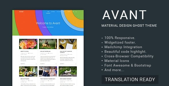 Avant - Material Design Ghost Theme