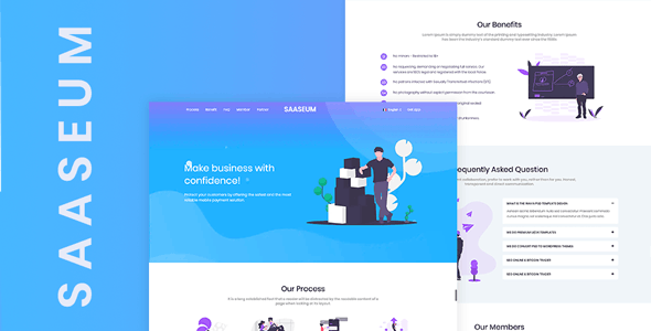 Saaseum - One page SaaS, Agency and Start up HTML Template - Technology Site Templates