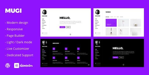 Mugi - Personal Portfolio & Resume WordPress Theme