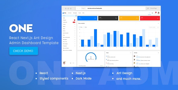 One - React Next.js & Ant Design Admin Template - Admin Templates Site Templates