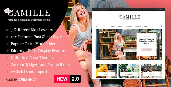 Camille - Personal & Magazine WordPress Responsive Clean Blog Theme - Personal Blog / Magazine