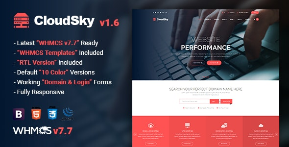 CloudSky | Multipurpose Domain, Hosting and WHMCS Template by themelooks