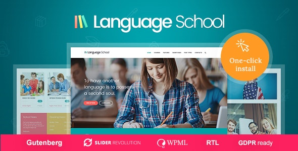 Language School - Courses & Learning Management System Education WordPress Theme - Education WordPress