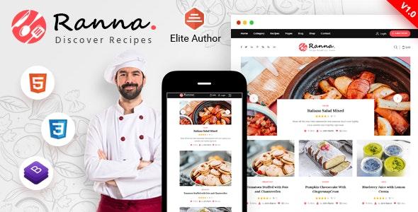 Ranna - Food & Recipe Blog Bootstrap 4 Template - Food Retail