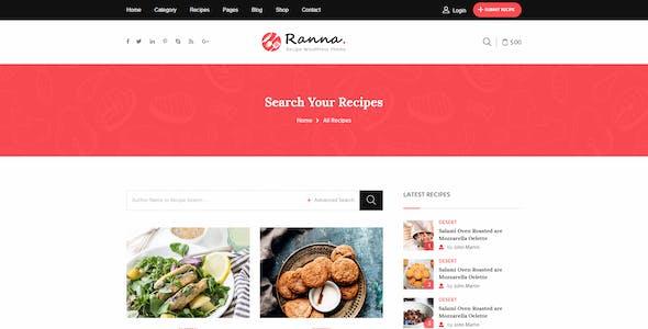 Ranna - Food & Recipe Blog Bootstrap 4 Template