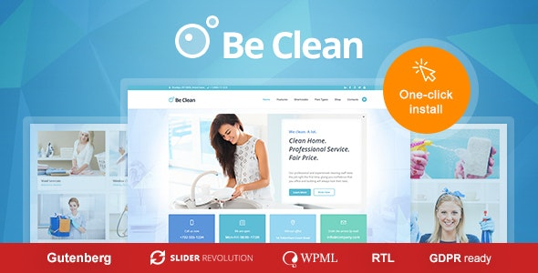 Be Clean - Cleaning Company, Maid Service & Laundry WordPress Theme - Business Corporate