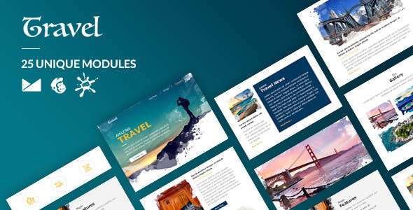 Travel Email-Template + Online Builder - Newsletters Email Templates