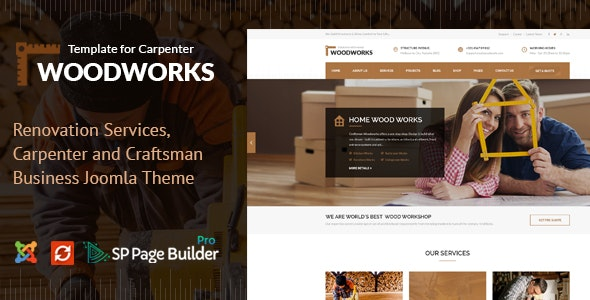 Wood Works - Renovation Services, Carpenter and Craftsman Business Joomla Theme - Business Corporate