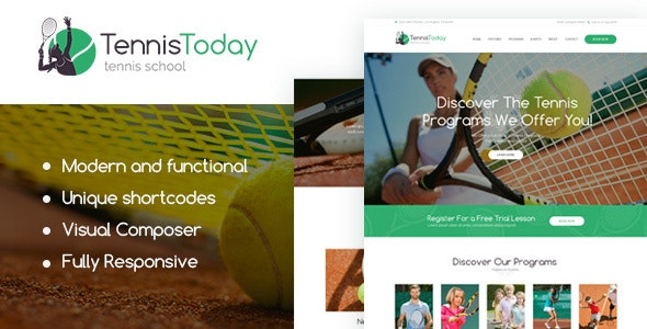 Tennis Today | Sport School & Events WordPress Theme - Education WordPress