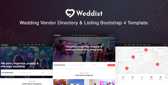 Weddist - Wedding Vendor Directory & Listing Bootstrap 4 Template by HasTech