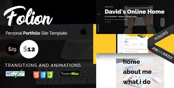 Folion - Ajax Freelancer Personal Portfolio - Personal Site Templates