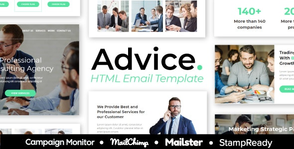 Advice - Business And Financial Consulting Email Template - StampReady + Mailster & Mailchimp Editor - Newsletters Email Templates