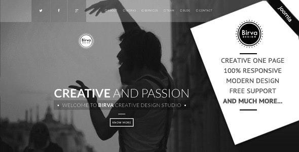 Birva - Creative One Page Joomla Theme - Portfolio Creative