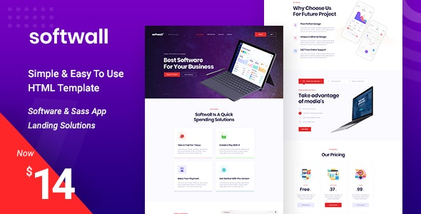 Softwall | Software SaaS Landing Page Template by zcubedesign