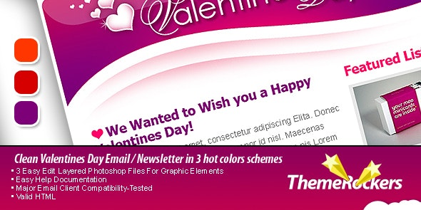 Valentines Day Clean Tri-color Email Templates - Newsletters Email Templates